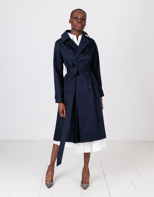 Blue cotton trench coat with pleated back