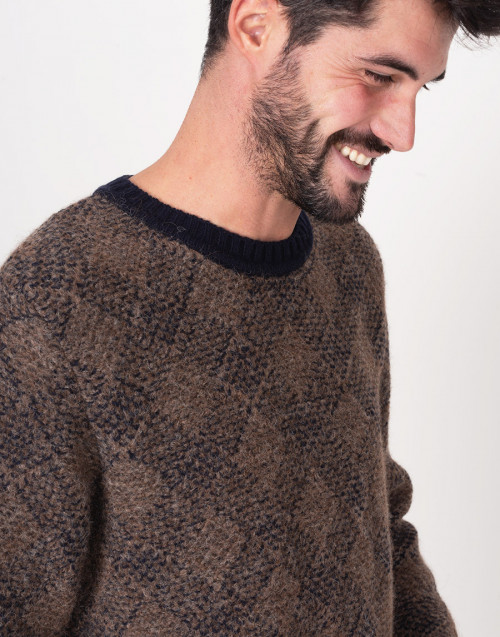 Brown and blue crewneck sweater