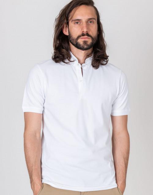 Mandarin collar white shirt