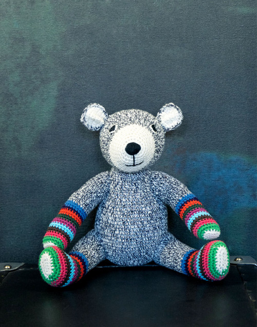 Gray striped Teddy bear in organic cotton