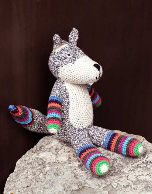 Gray and striped fox in organic cotton