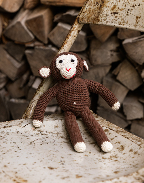 Scimpanzè fatto a mano color cioccolato in cotone...