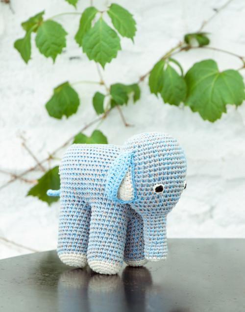 Mamma elefante grigio e azzurro in cotone organico