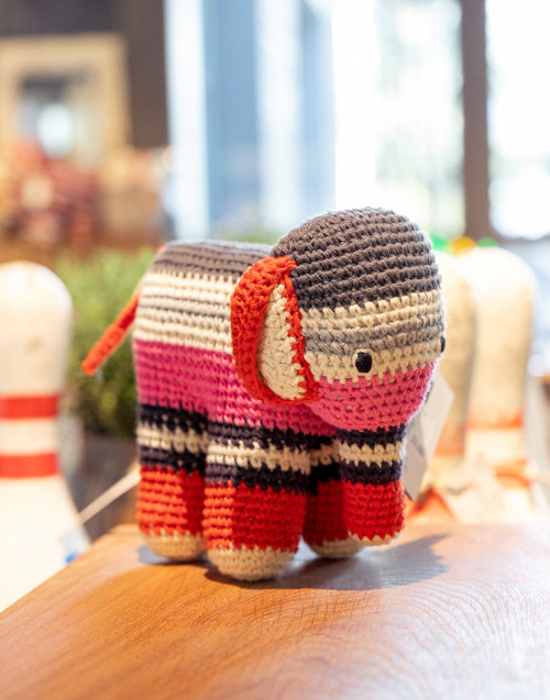 Pink and striped elephant in organic cotton