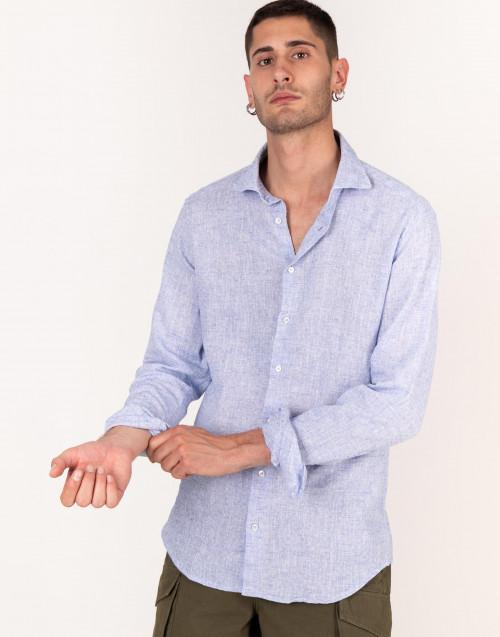 Camicia ricamata in lino e cotone azzurro