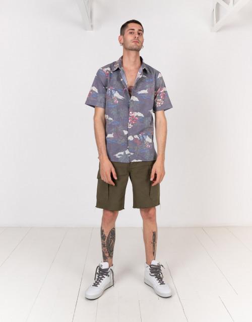 Camicia Hawaiiana maniche corte grigio