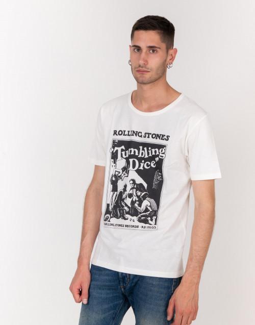 T-shirt cotone bianco latte Rolling Stones