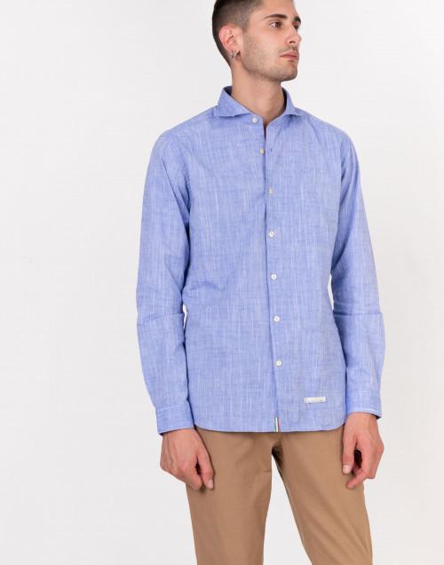 Camicia azzurra micro ricamo