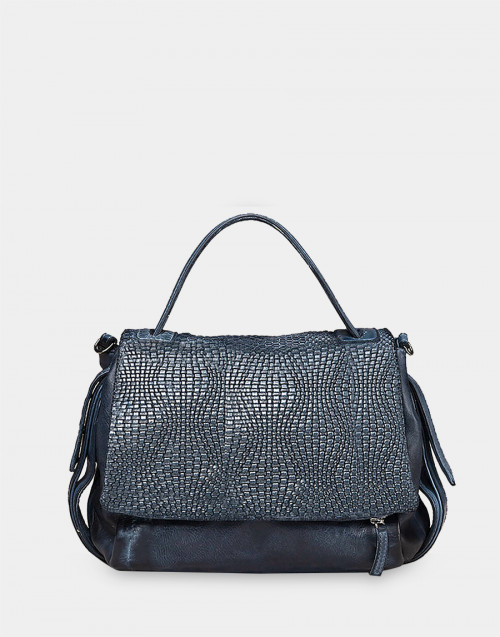 Blue leather agata handbag