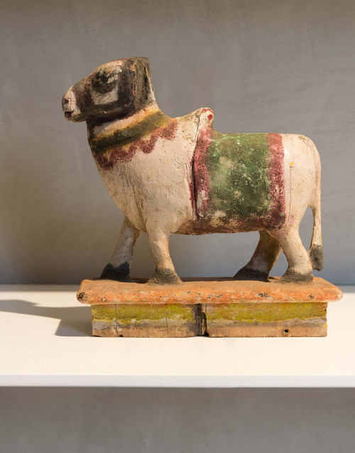 wooden cow indian colored s