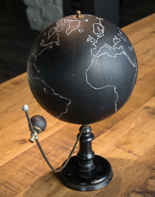 military vintage globe with moon