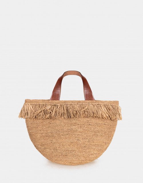 Frayed raffia bag with leather details