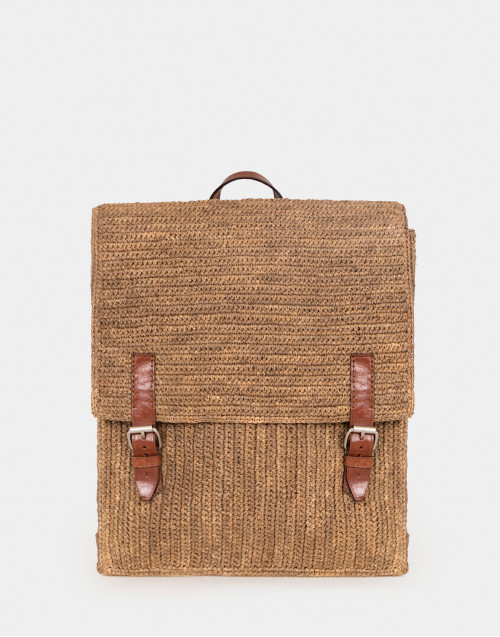 Raffia backpack with leather details
