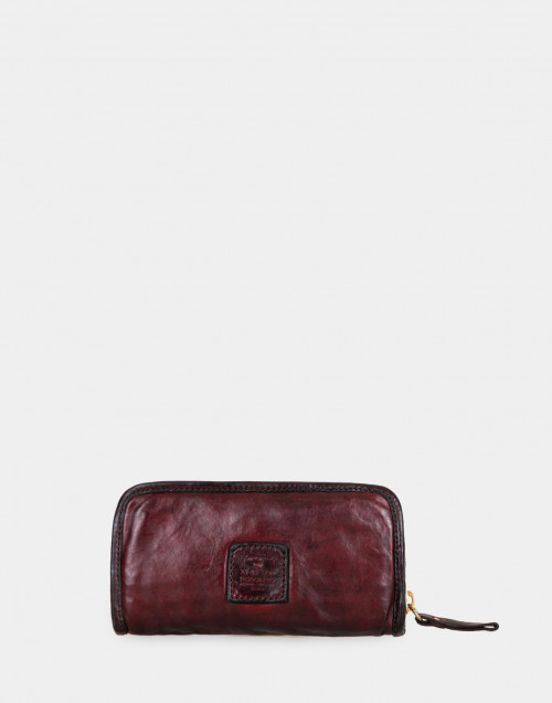 Zip-around burgundy leather wallet