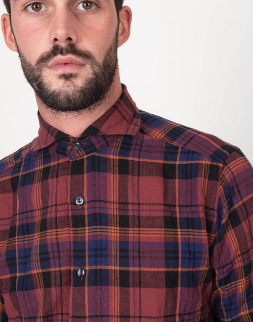 Slim tartan bordeaux and blue shirt