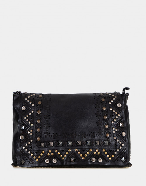 Black leather shoulder bag with studs and laser...
