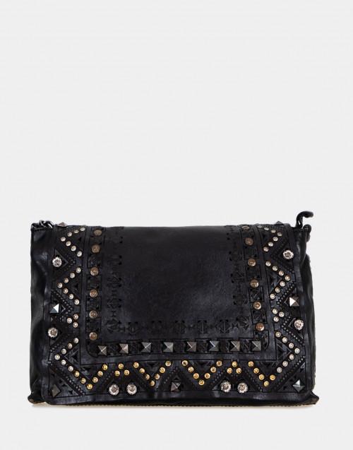 Black leather shoulder bag with studs and laser...