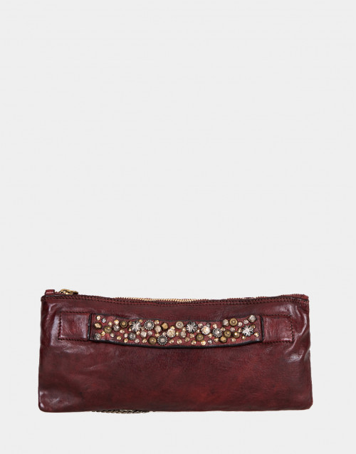Burgundy leather shoulder bag with studs