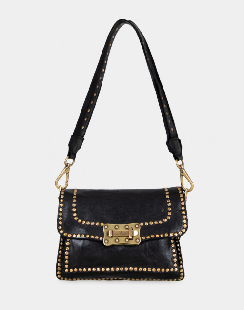 Black leather mini bag with rivets and shoulder strap