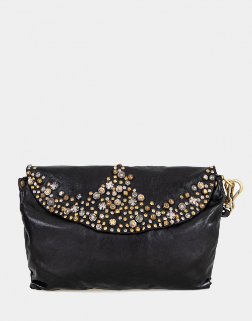 Black leather shoulder bag with studs