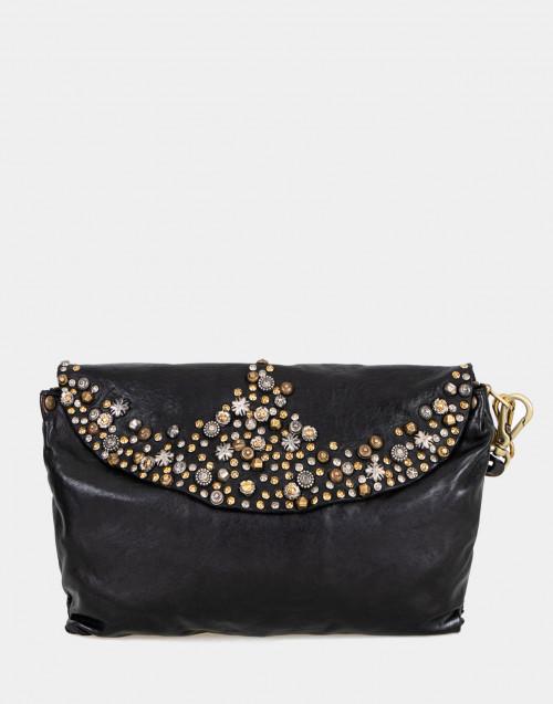Borsa a tracolla in pelle nera con borchie