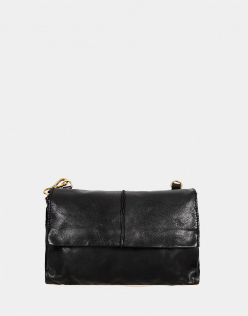 Black leather pochette with shoulder strap