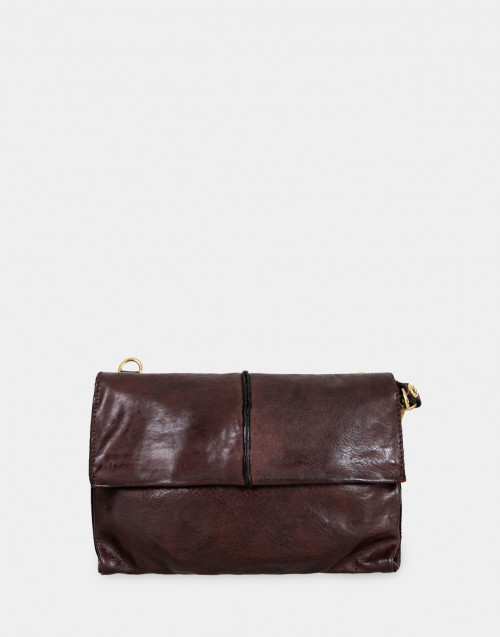 Dark brown leather pochette with shoulder strap