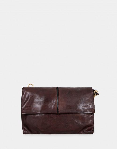 Dark brown leather pochette with shoulder strap