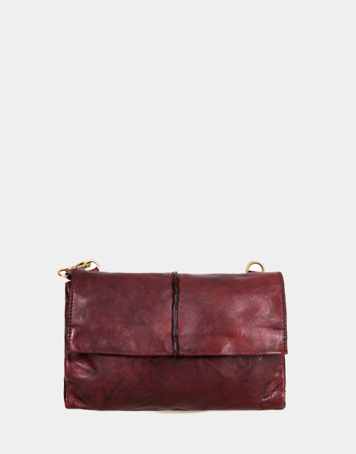 Burgundy leather pochette with shoulder strap