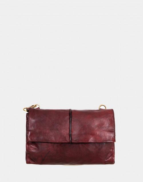Burgundy leather pochette with shoulder strap