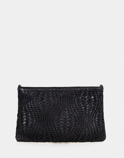 Black braided leather shoulder bag