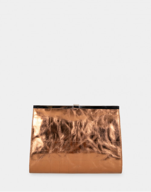 Medium bronze color leather TRK121 clutch
