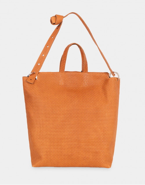 Borsa shopper TRK903 Nino in pelle cammello intrecciata