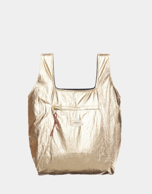 Gold-tone and black reversible Pilon shopper