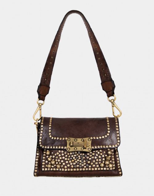 Brown leather mini shoulder bag with rivets,...