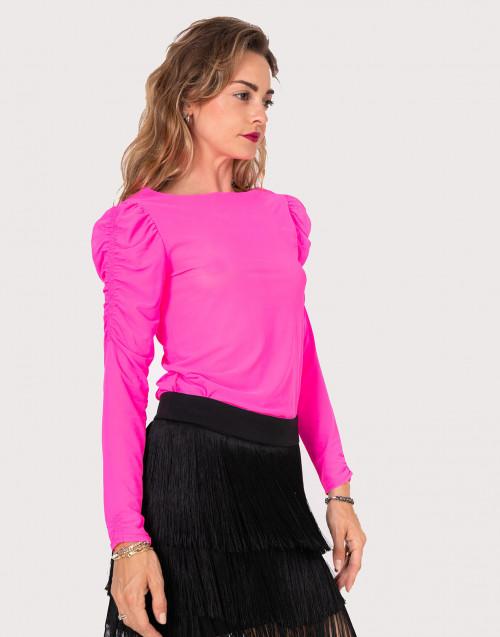 Fluo fuchsia mesh shirt