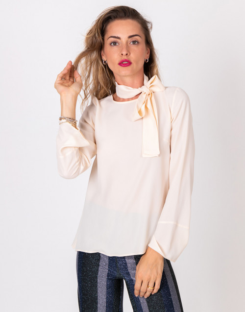 Cream ribbon shirt