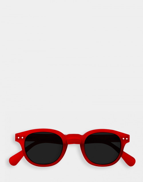 Red sunglasses and reading glasses thick frame