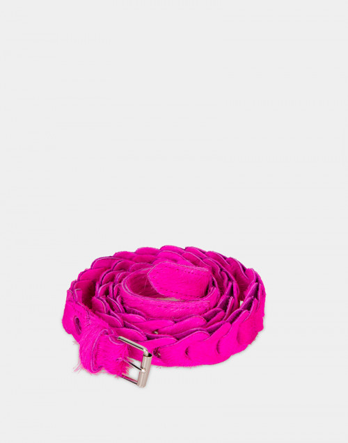 Dalia leather belt fluo pink