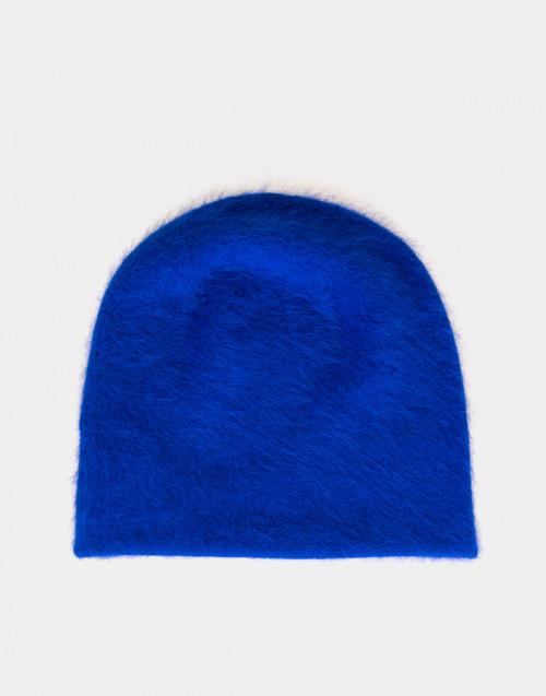 Cuffia in angora blu