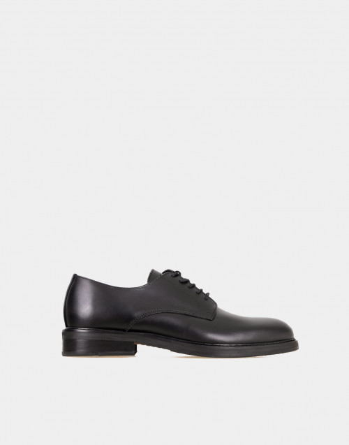 Black lace-up leather derby shoes