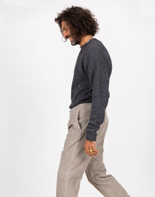 Grey ribbed velvet trousers