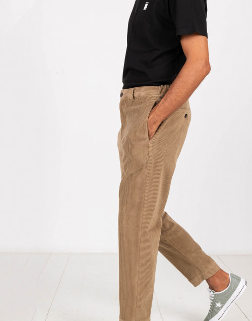 Camel ribbed velvet trousers
