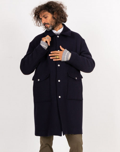 Egg shaped blue wool coat
