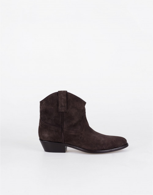 Brown suede leather cowboy boots