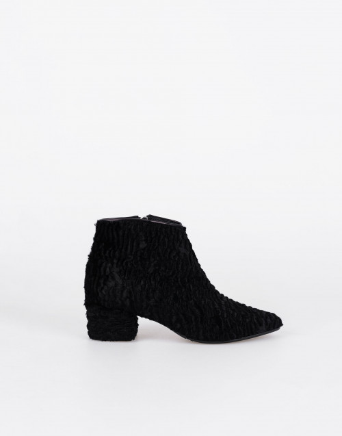 Black astrakan ankle boot