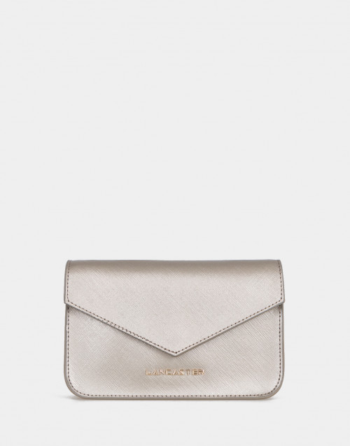 Mini clutch Saffiano Signature laminata oro