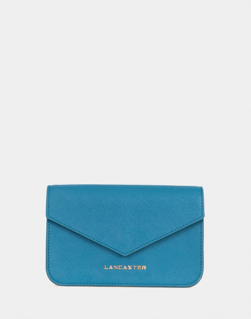 Mini clutch Saffiano Signature petrolio