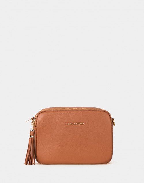 Ana camel leather crossbody bag