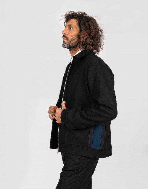 Black and blue wool jacket